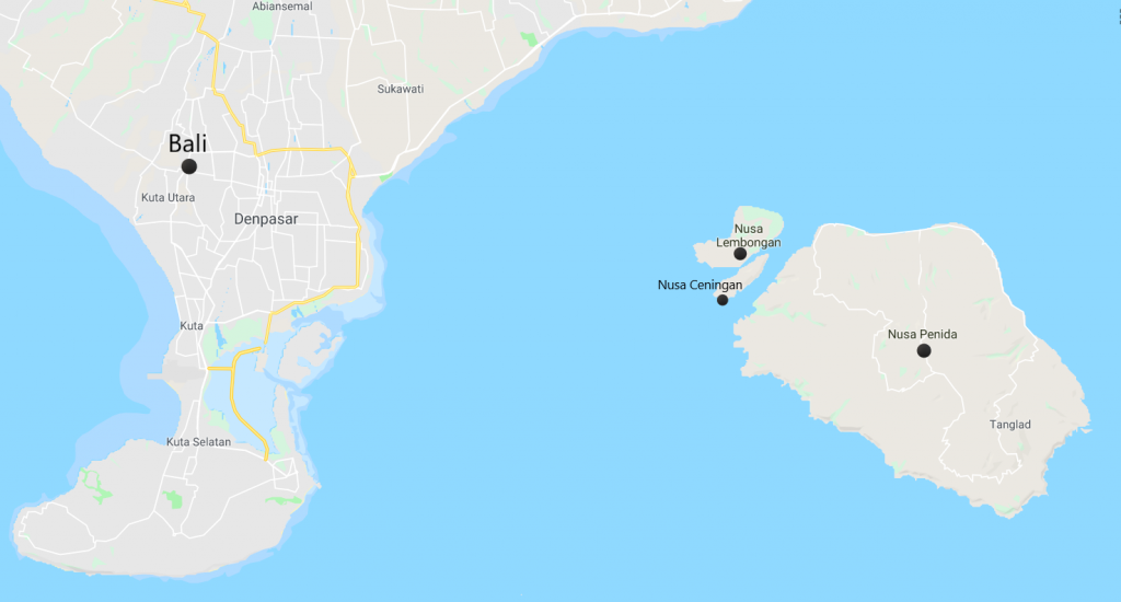 Mapa. Bali. Nusa Ceningan, Nusa Lembongan, Nusa Penida.